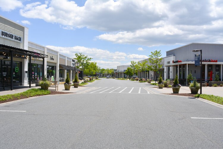 The Shops at Stonefield in Albemarle County sits nearly empty during Gov. Ralph Northam's stay-at-home order, which could be modified around May 15.
