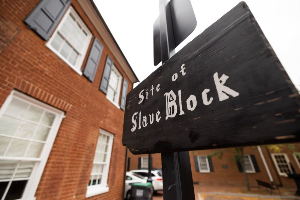 This historic building now for sale in Court Square was once the site of Charlottesville's slave auction block. The listing does not include that fact.